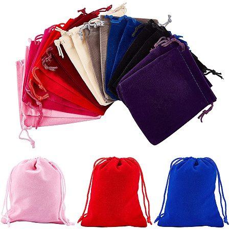 Rectangle Velvet Pouches, Gift Bags, Mixed Color, 12x10cm, 9 colors, 2pcs/color, 18pcs/set
