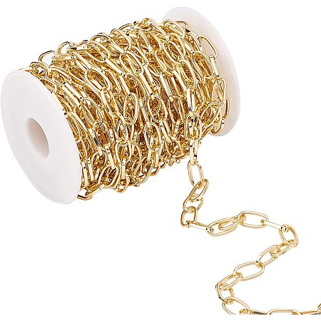 Aluminium Paperclip Chains, Flat Oval, Drawn Elongated Cable Chains, for DIY Jewelry Making, Unwelded, with Plastic Empty Spools, Light Gold, 15.5x8x1mm; 10m/set