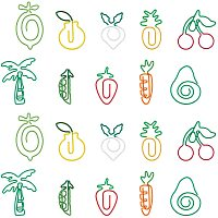 SUNNYCLUE Vegetable and Fruit Iron & Plastic Paperclips, Cute Paper Clips, Funny Bookmark Marking Clips, Mixed Color, 29.8~40.8x13.3~31.5x1.1~3.7mm; 20pcs/box
