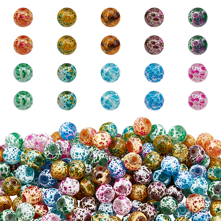 Spray Painted Glass Beads, Round, Mixed Color, 8.5mm, Hole: 1.5mm; 10 colors, 30pcs/color, 300pcs/box
