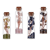 Gorgecraft Glass Wishing Bottle, For Pendant Decoration, with Gemstone Chip Beads Inside and Cork Stopper, 73x19.5mm; 4pcs/set