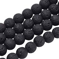 Olycraft Natural Lava Beads Strands, Black, Round, 8mm, Hole: 1mm; about 47pcs/strand, 15 inches