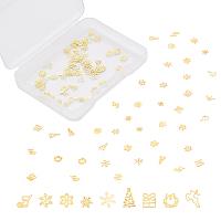 Brass Glitter Manicure Nail Art Decoration, for Christmas, Mixed Shapes, Golden, 108pcs/box