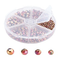 SUPERFINDINGS Electroplate Glass Beads, Faceted, Rondelle, Rose Gold Plated, 3~8x2~6mm, Hole: 1mm; about 880pcs/box