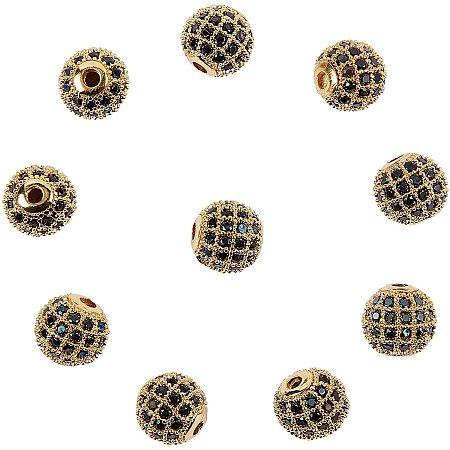 Rack Plating Brass Cubic Zirconia Beads, Long-Lasting Plated, Round, Golden, Black, 8x7mm, Hole: 2mm; 10pcs/box