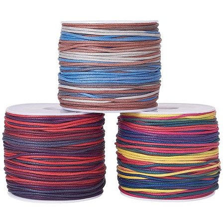 Arricraft 3 Rolls 32 Yards/Roll 1mm Multicolor Waxed Polyester Cord Thread Beading String for Bracelet Necklace Jewelry Making Macrame Supplies