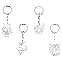 Unicraftale Stainless Steel Keychain, Laser Cut, Animals, Stainless Steel Color, 4pcs/box