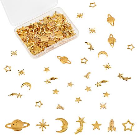 Olycraft Zinc Alloy Links, Open Back Bezel, For DIY UV Resin, Epoxy Resin, Pressed Flower Jewelry, Star, Asterism, Rocket, Moon, Golden, 112pcs/box