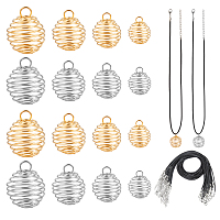 Arricraft DIY Necklace Making, with Iron Wire Cage Pendants and Imitation Leather Cord Chain, Platinum & Golden, Cord: about 17 inches, 24pcs/set