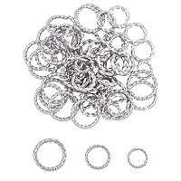 Unicraftale 304 Stainless Steel Jump Rings, Open Jump Rings, Twisted, Stainless Steel Color, 60pcs/box