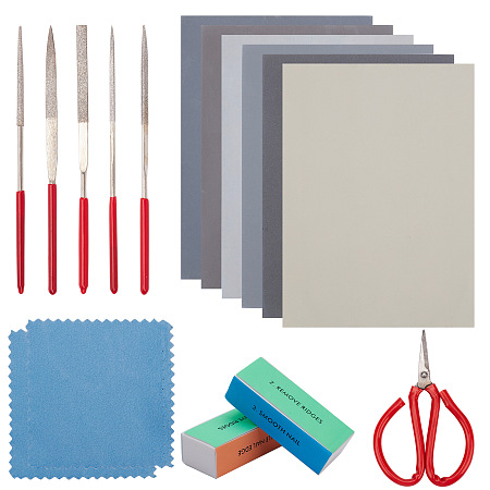 Gorgecraft Jewelry Tools, with Suede Fabric Square Silver Polishing Cloth, Alloy Diamond Files, Graining Burnishing Tools, Carbon Steel Scissors and Sandpaper Polishing Abrasive Sanding Paper, Mixed Color