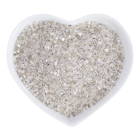 ORNALAND Transparent Two Cut Glass Seed Beads, Hexagon, Grade A, Silver Lined, Dyed, White, 2x1.5~2mm, Hole: 0.5mm; about 7800pcs/bag