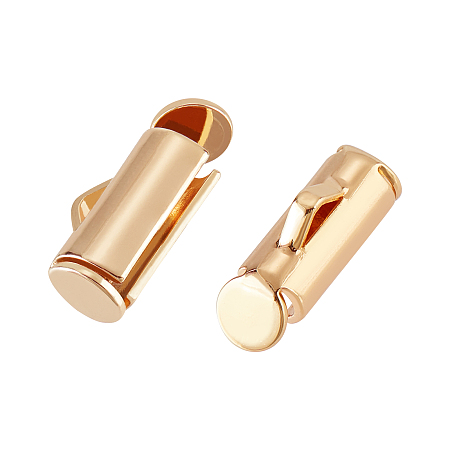 BENECREAT Long-Lasting Plated Brass Slide On End Clasps, Nickel Free, Tube, Real 18K Gold Plated, 9x5.5x4mm, Hole: 1mm, Inner Diameter: 2.5mm; 20pcs/box