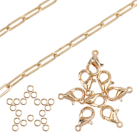 SUNNYCLUE DIY Paperclip Chains Jewelry Set Making Kits, include Brass Paperclip Chains & Lobster Claw Clasps & Close but Unsoldered Jump Rings, Real 18K Gold Plated, 12x4x0.8mm, 2m/set