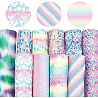 Mermaid Fish Scale & Stripe Pattern PU Leather Fabric, Self-adhesive Fabric, for Hair Accessories Bag Making DIY Crafts, Mixed Color, 30x20x0.1cm; 10 colors, 1sheet/color, 10sheets/set