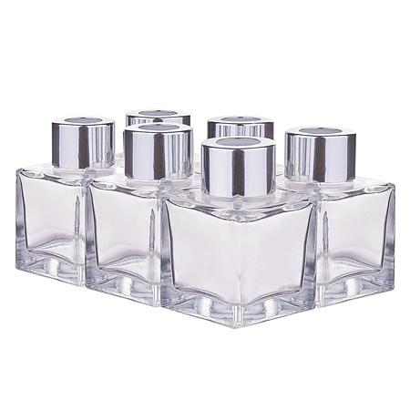 50ML Aromatherapy Bottle, Car Glass Perfume Bottle, Volatile Bottle, Square, White, 5x5x7cm, Capacity: 50ml; 6pcs/box