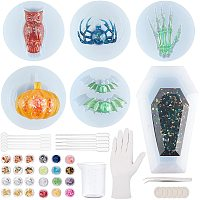 Halloween Theme, DIY Silicone Mold Kits, Include 100ml Measuring Cups, Plastic Round Stirring Rod & Transfer Pipettes & 304 Stainless Steel Beading Tweezers, Mixed Color, 55x11mm