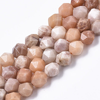 Arricraft Natural Sunstone Beads Strands, Star Cut Round Beads, Faceted, 10mm, Hole: 1.2mm, about 38pcs/strand, 14.96 inches(38cm)