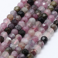 ARRICRAFT Natural Tourmaline Beads Strands, Faceted, Round, 3mm, Hole: 0.5~0.6mm, about 144~151pcs/strand, 15.3~15.7 inches(39~40cm)