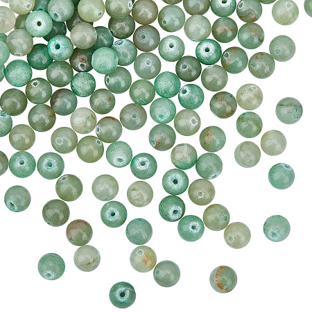 Olycraft Natural Green Aventurine Beads Strands, Round, 8~8.5mm, Hole: 1mm; about 47pcs/strand, 15.5 inches