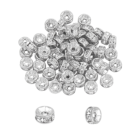 Unicraftale 316 Surgical Stainless Steel Spacer Beads, for Jewelry Craft Making Findings, with Rhinestone, Disc, Stainless Steel Color, 6x3mm, Hole: 1mm, 60pcs/box