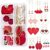 SUNNYCLUE DIY Dangle Earring Making Kits, with Alloy Pendants, Sheepskin Leather Pendants, Glass Globe Pendants, Acrylic Pendants, Wood Pendants, Brass Earring Hooks, Golden, 38x2x1.5mm, Hole: 1.5mm