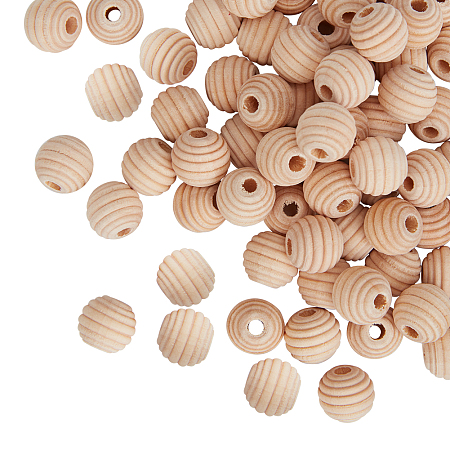 Olycraft Natural Wood Beads, Beehive Beads, with Vacuum Bag, Antique White, 12x11mm, Hole: 3mm, 200pcs/set