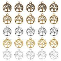 PANDAHALL ELITE Alloy Filigree Pendants, Flat Round with Tree of Life, Mixed Color, 23.5x19.5x1.5mm, Hole: 2.5mm, 5 colors, 10pcs/color, 50pcs/box