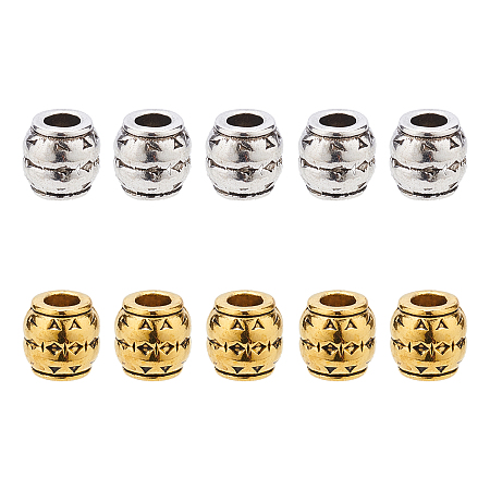 SUPERFINDINGS Tibetan Style Alloy Large Hole Barrel Beads, Lead Free & Cadmium Free & Nickel Free, Antique Silver & Antique Golden, 8x8mm, Hole: 3.5mm, 2 colors, 40pcs/color, 80pcs/box