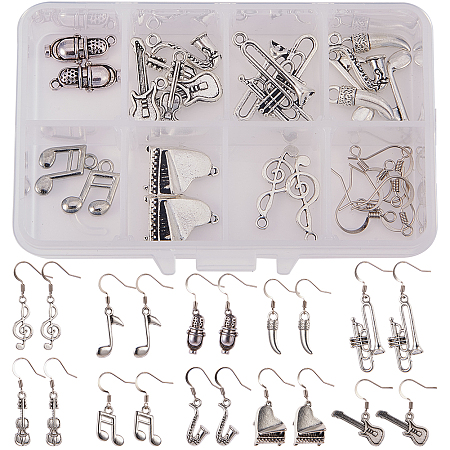 SUNNYCLUE DIY Earring Making, with Zinc Alloy Pendants and Brass Earring Hooks, Mixed Shapes, Antique Silver & Platinum, Plastic Boxes: 11x7x3cm