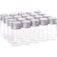 BENECREAT 20 Pack 10ml/0.33oz Glass Bottles Sample Vials with Screwed Aluminum Caps for Wishing Message Bottle, Sample Liquid, Arts & Crafts, Wedding Favors Decorations