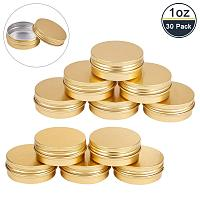BENECREAT 30 Pack 1 OZ Tin Cans Screw Top Round Aluminum Cans Screw Containers Tins with Lids- Great for Store Spices, Candies, Tea or Gift Giving (Gold)
