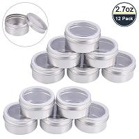 BENECREAT 12 Pack 2.7 OZ Tin Cans Screw Top Round Aluminum Cans Screw Lid Containers with Clear Window - Great for Store Spices, Candies, Tea or Gift Giving (Platinum)