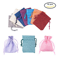 PandaHall Elite 10 Pcs Burlap Bags with Drawstring Gift Bags 9x7cm for Jewelry DIY Craft and Wedding Party Mixed Color