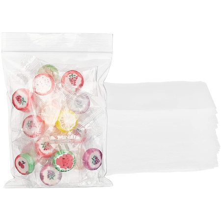PandaHall Elite 4 x 5 Inch Resealable Clear Plastic Bags 100pcs Reclosable Zipper Bags Plastic Bags with Zip Lock Thickening for Confetti Jewelry Packaging, 0.08mm(3.1Mil) Thick