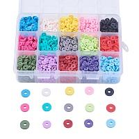 Arricraft 15 Colors Environmental Handmade Polymer Clay Beads, Disc/Flat Round, Heishi Beads