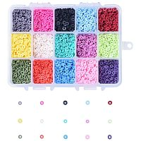 NBEADS 5700 Pieces 15 Colors Handmade Polymer Clay Beads, 4mm Flat Round Spacer Beads for DIY Jewelry Making, Hole: 1mm