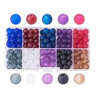 ARRICRAFT 1 Box (about 250pcs) 10 Color 8mm Frosted Glass Bead Assortment Lot for Jewelry Making