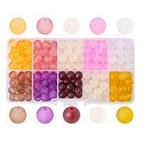 ARRICRAFT 1 Box (about 120pcs) 10 Color 10mm Frosted Glass Bead Assortment Lot for Jewelry Making