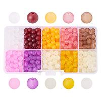 ARRICRAFT 1 Box (about 600pcs) 10 Color 6mm Frosted Glass Bead Assortment Lot for Jewelry Making