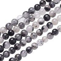 NBEADS 5 Strands 8mm Black/LightGrey Natural Black Mutilated Quartz Gemstone Beads Round Loose Beads for Bracelet Necklace Jewelry Making, 1 Strand 24pcs