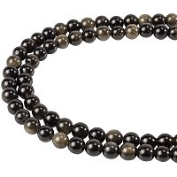 """NBEADS 5 Strands 15.2""""/Strand Natural Golden Sheen Obsidian Beads Strands, 6mm Round Natural Stone Beads with 1mm Hole Loose Spacer Beads for DIY Bracelet Necklace Jewelry Making, Black"""