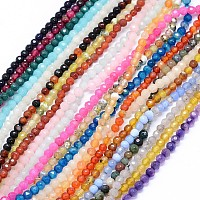 "NBEADS Faceted Natural Agate Beads Strands, Dyed, Round, Mixed Color, 4mm, Hole: 1.2mm; about 92pcs/strand, 14""(35.5cm)"