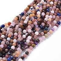 Natural Gemstone Beads Strands, Dyed, Mixed Stone, Round, 5.8~6.8mm, Hole: 0.7mm, about: 66pcs/Strand, 15 inches~15.5 inches(38~39cm)