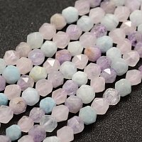 NBEADS 2 Strand 61pcs Natural Faceted Kunzite Precious Gemstone Loose Beads, 6mm Round Charm Beads for Jewelry Making, 1 Strand 14.5~14.7""
