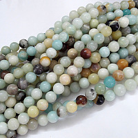 NBEADS Natural Amazonite Beads Strands, Round, 8mm, Hole: 1mm; about 47pcs/strand, 15.5''(39.5cm)