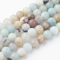Natural Amazonite Bead Strands, Round, 6~6.5mm, Hole: 1mm; about 60pcs/strand, 14.9 inches(38cm)
