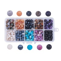 Natural Weathered Agate Beads, Dyed, Frosted, Round, Mixed Color, 6mm, Hole: 1mm; about 50pcs/comparment, 500pcs/box