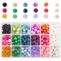 NBEADS 360 Pcs Gemstone Stone Beads Mixed 8mm Round Beads Loose Gemstone Beads for Bracelet Necklace Earrings Jewelry Making