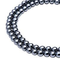 PandaHall Elite Diameter 6mm Grade AA Gorgeous Black Synthetical Hematite Gemstone Metal Round Gemstone Beads For Jewelry Making, about 72pcs/strand